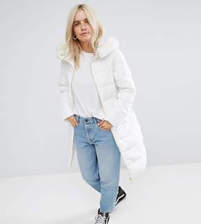 Asos Longline Puffer Coat with Faux Fur Trim Hood