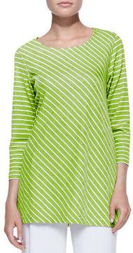 Caroline Rose Bias-Striped Knit Tunic