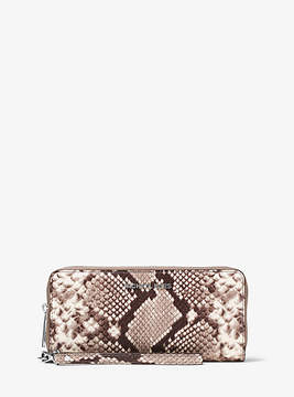 Michael Kors Jet Set Travel Embossed-Leather Continental Wristlet - NATURAL - STYLE