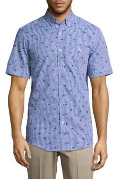 Report Collection Checkered Casual Button-Down Cotton Shirt