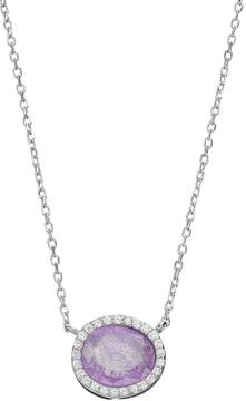 Ball Sterling Silver Ice Cubic Zirconia Oval Halo Necklace