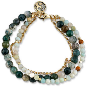 Footnotes Womens Multi Color Silver Over Brass Beaded Bracelet