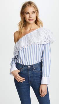 Clu One Shoulder Striped Shirt