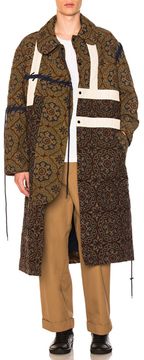 Craig Green Block Print Coat in Brown,Abstract.
