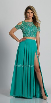 Dave and Johnny Cold Shoulder Beaded Two Piece Chiffon Evening Dress