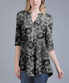 Azalea Gray & Black Floral V-Neck Tunic - Women