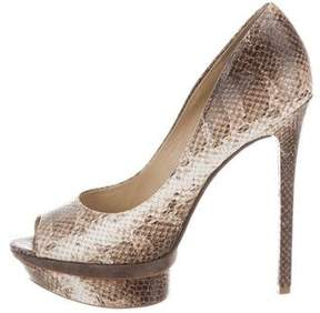 Brian Atwood Embossed Leather Peep-Toe Pumps
