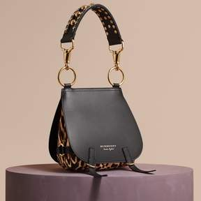 Burberry The Bridle Bag in Leather and Calfskin - BLACK - STYLE