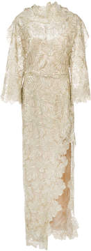 Christian Siriano side slit embroidered high neck dress
