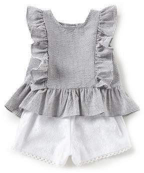 Bonnie Jean Little Girls 4-6X Striped Seersucker Ruffled Top & Lace Shorts Set