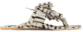 Figue Scaramouche Tasseled Zebra-print Calf Hair Sandals - Off-white
