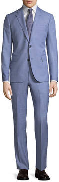Neiman Marcus Modern-Fit Two-Piece Wool Suit, Light Blue