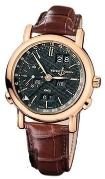 Ulysse Nardin GMT Perpetual Black Dial 18kt Rose Gold Brown Leather Men's Watch 326-22-92