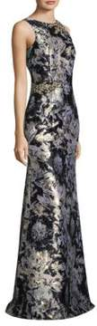David Meister Metallic Jacquard Gown