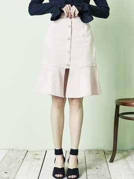 Blank Button Slit Skirt Pk