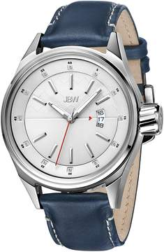 JBW Rook Silver Dial Blue Leather Men's Watch
