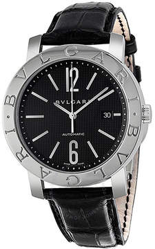 Bvlgari Black Dial Stainless Steel Black Leather Men's Watch 101380