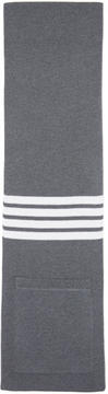 Thom Browne Grey Rib Wool Pocket Four Bar Scarf