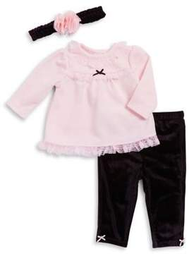 Little Me Baby's Three-Piece Laced A-Line Dress, Classic Leggings and Headband Set