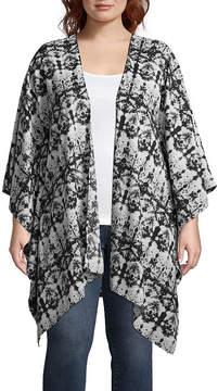 Boutique + + Long Sleeve Printed Kimono - Plus