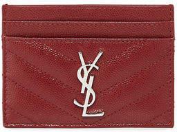 Saint Laurent Monogram Matelassé Leather Card Case - DARK BEIGE - STYLE