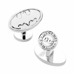 Accessories Silver Oval Batman Logo Cufflinks