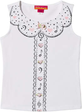Kate Mack Biscotti White Musical and Heart Print Vest Top