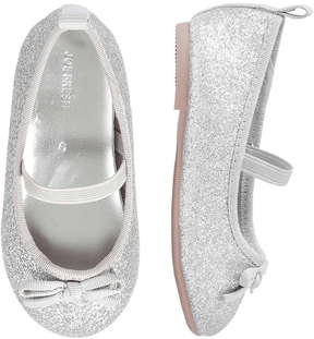 Joe Fresh Baby Girls' Sparkle Ballet Flats, Silver (Size 4)