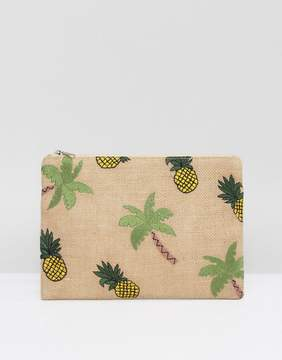 Glamorous Zip Top Pouch With Tropical Embroidery