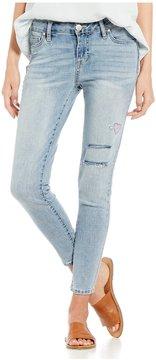 Celebrity Pink Destructed Doodle Embroidered Ankle Skinny Jeans