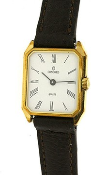 Concord San Remo Brown Leather Calfskin Strap Gold Plated Womens Watch