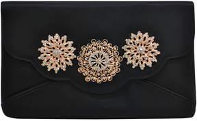 La Regale Embellished Satin Foldover Clutch