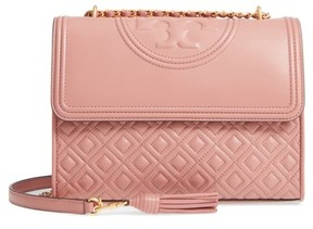 Tory Burch Fleming Quilted Lambskin Leather Convertible Shoulder Bag - Black