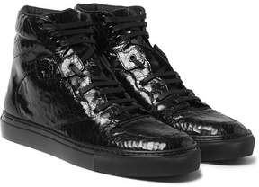 Balenciaga Patent-Leather High-Top Sneakers