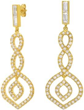 Crislu 18K Gold Plated Sterling Silver CZ Pave Twist Drop Earrings