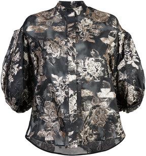 Dice Kayek jacquard puff sleeve blouse