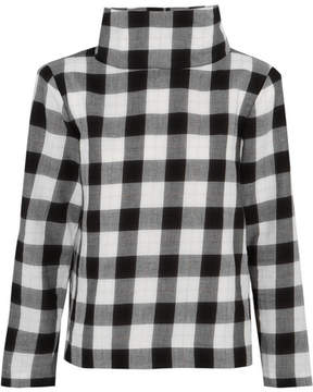 Tibi Metallic Gingham Cotton-blend Flannel Top - Black