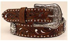 Ariat A1518602-S 1.5 in. Womens Embossed Concho Belt, Brown - Small