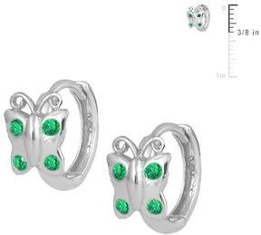 Ice Silver Butterfly Huggie Hoop Earrings For Girls