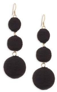 Kenneth Jay Lane Carnival Triple Drop Earrings/Black