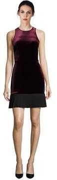 ABS by Allen Schwartz Velvet Pleated Hem Sleeveless Dress.