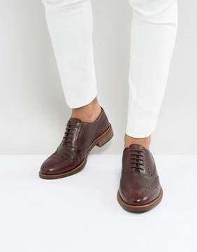 Dune Pebble Brogues In Wine Leather