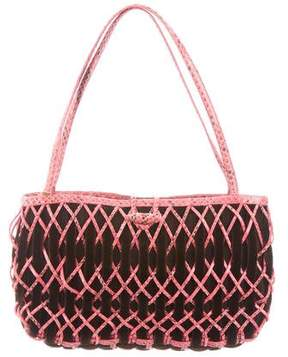 Nancy Gonzalez Crocodile-Trimmed Woven Bag
