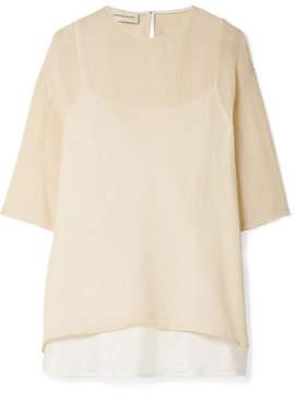 Mansur Gavriel Crinkled Silk-blend Top - Cream