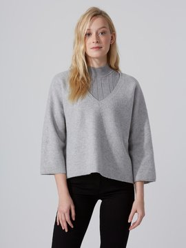 Frank and Oak Lofty V-Neck Sweater with Bell Sleeve in Silver Grey