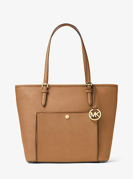 Michael Kors Jet Set Travel Large Leather Tote - BROWN - STYLE