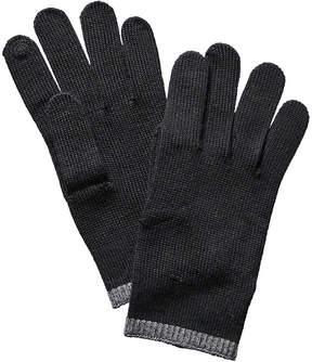 Portolano Men's Black Merino Wool Gloves
