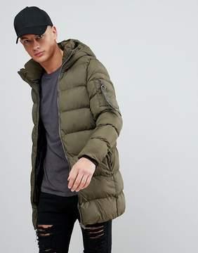 Pull&Bear Hooded Puffer Jacket In Khaki