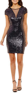 Bisou Bisou Short Sleeve Sequin Sheath Dress