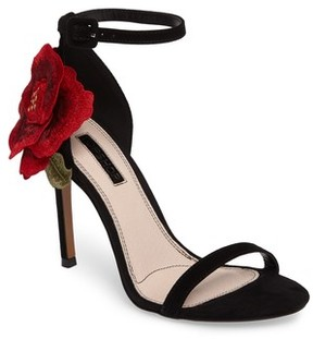 Topshop Women's Rosebud Applique Sandal